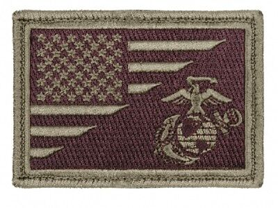US Flag USMC Marine Corps Globe and Anchor Morale Olive Drab Brown Klett Patch
