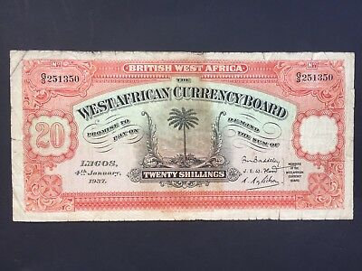 British West Africa West African Currency Board 20 Shillings dated 1937 aFine