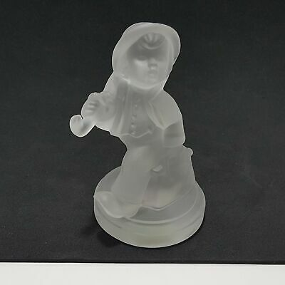 "Goebel Hummel Merry Wanderer Crystal Frosted Glass Paperweight Figurine 3.75"" H"