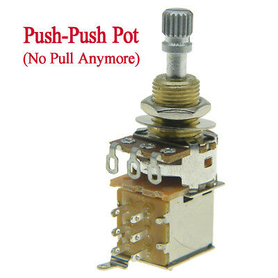KAISH A500K Guitar Bass Push-Push Pot Audio Taper Guitar Pots with Brass Shaft