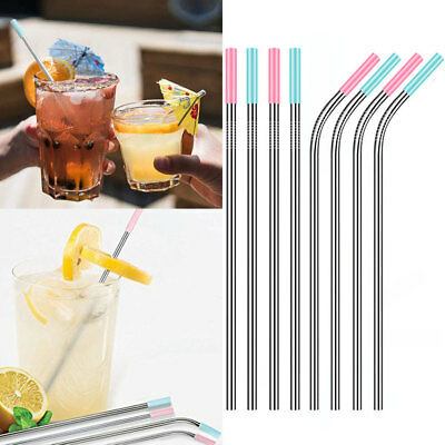 8PC Stainless Steel Straws Reusable Metal With Blue Pink Silicone Tips Brush