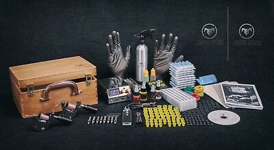 UK Tattoo Kit Sets full Power supply professional MACHINE Coil Twins  5 pcs skin