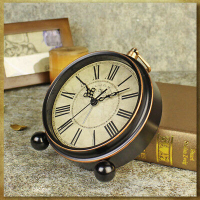 Antique Vintage Silent Analogue Round Wall Alarm Clock Home Bedroom Quartz UK