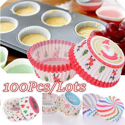 100PC Xmas Cupcake Wrapper Paper Cake Case Baking Cups Liner Christmas Decor