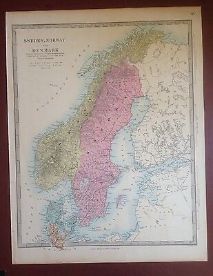 1874 Edward Stanford Steel Engraved Hand Coloured Map - Sweden  / 17.5 X 13.5