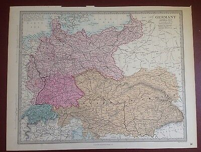 1874 Edward Stanford Steel Engraved Hand Coloured Map - Germany  / 17.5 X 13.5