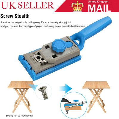 Pocket Hole Drill Step Guide Dowel Jig Drill Bit Kit Woodworking Joint Cutter UK