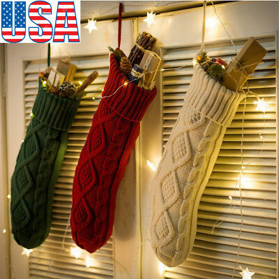 Christmas Candy Bag Tree Ornament Stocking Knitted Sock Hanging Decor Gifts
