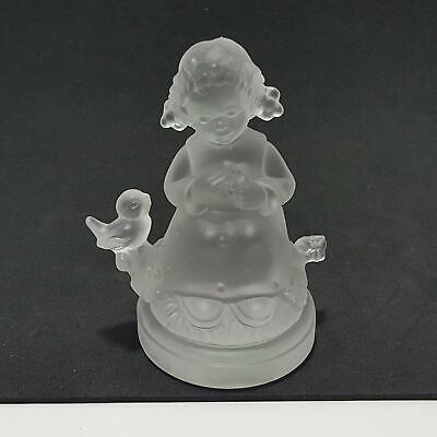 "Goebel Hummel Blue Belle Crystal Frosted Glass Paperweight Figurine 3.25"" H"