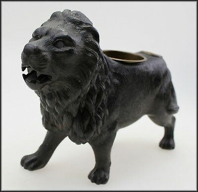 Rare Collectible Antique Di Cast Lion Ink Well