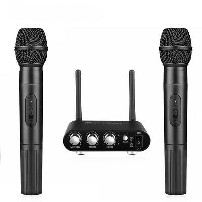 Wireless Microphone karaoke UHF 2 Cordless Handheld Mic with LCD Receiver System