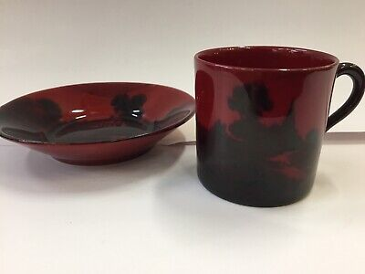 VINTAGE ANTIQUE ROYAL DOULTON FLAMBÉ RED DEMITASSE COFFEE CUP & SAUCER CAN No.2