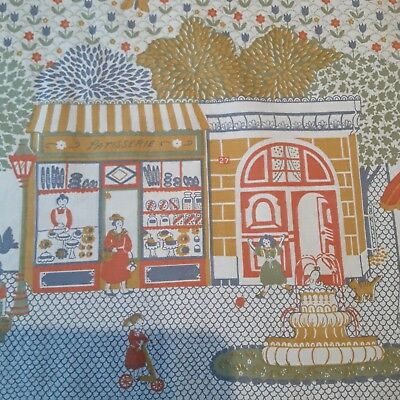 Vintage Children's French Street Scene Fabric/Curtain Panels for Sewing/Craft