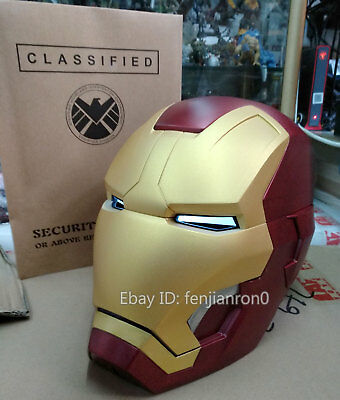 CATTOYS 1:1 Iron Man MK42 LED Helmet Colorized Full Metal Version Manual Open