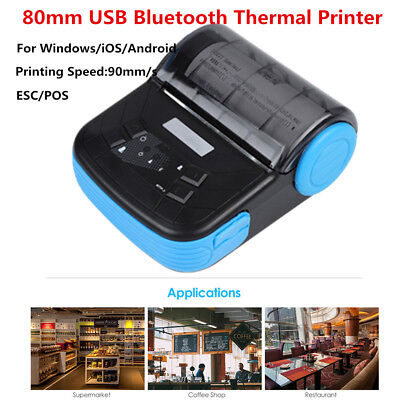 Mini 80mm Wireless Bluetooth Thermal Receipt Printer ESC POS For Windows Android