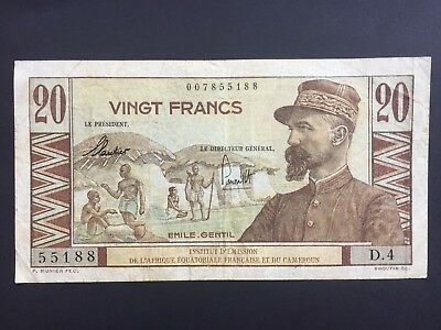 French Equatorial Africa & Cameroun 20 Francs issued 1957 Fine+