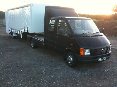 VW LT46 Crew Cab Mini Artic curtain side car transporter with integral ramp