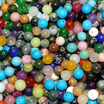 GRW9912 Assorted 8mm Mixed Round Gemstone Bead Lot 385-Grams (500 Beads)