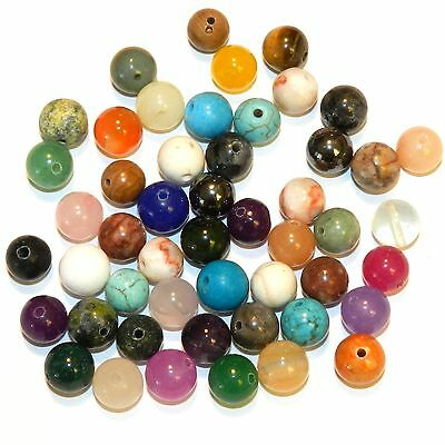 GRL9912 Assorted 8mm Mixed Round Gemstone Bead Lot 80-Grams (100 Beads)