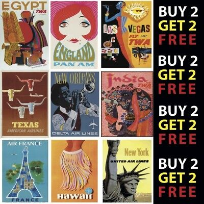 VINTAGE RETRO AIRLINE TRAVEL POSTERS A4 - A3 Prints 300gsm Paper/Card