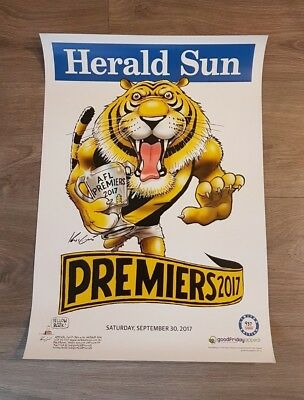 2017 Richmond Tigers White Limited Edition Premiers Premiership Knight Poster