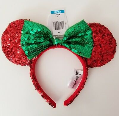 NWT Authentic Disney Parks Minnie Mouse Christmas Holiday Bow Sequin Ears