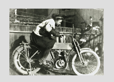 HARLEY DAVIDSON  early 1900s , woman posing on a Harley !!!!! ( COOL PRINT)