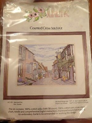 Kinetic Mermaid Inn Rye, Sussex Counted Cross Stitch Kit - Part completed