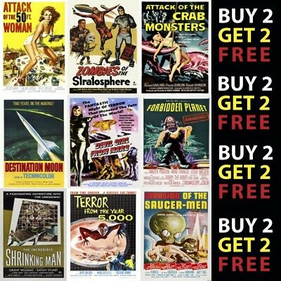 VINTAGE SCIENCE FICTION MOVIE POSTERS 1930 - 2018 A4 A3 300gsm Vintage Wall Art