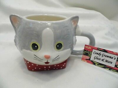 Pier One Dolomite Grey Cat Coffee Mug