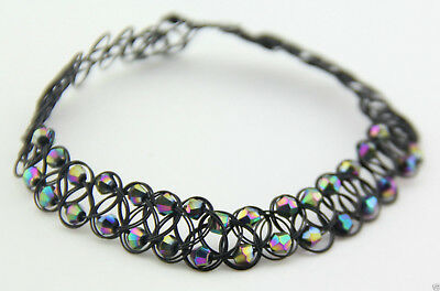 New Rainbow Choker Beads Tattoo Elastic Necklace Pendant Grunge 90s Festival