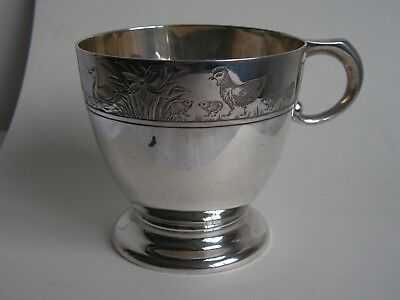 Vintage Solid Silver Mappin & Webb Christening Mug With Duck & Chicken Engraving
