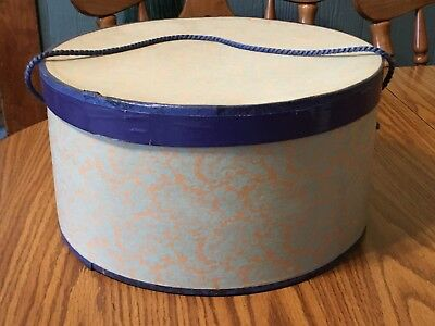 Vintage Large Cardboard Lace and Flowers Design Hat Box