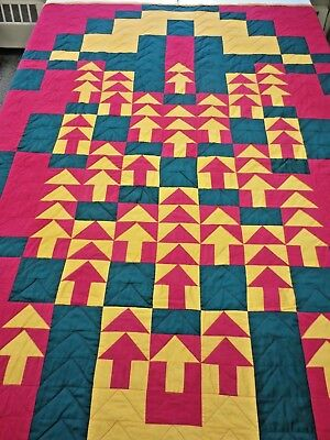 """HANDMADE SIGNED QUILT 88"""" x 76"""" Pine Forest Red Green Yellow"""