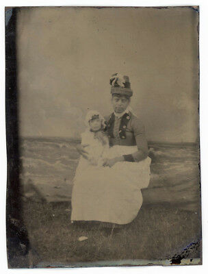 Black Woman Nanny Stylish Hat Attire White Toddler Real Grass Faux Ocean Tintype