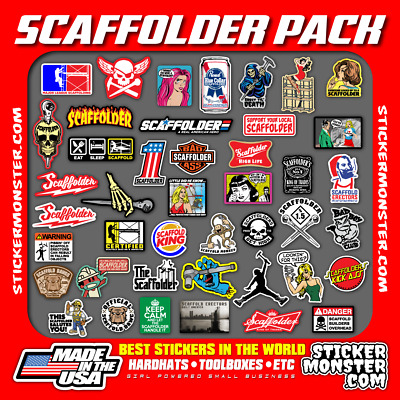 SCAFFOLDER (40+) Hard Hat Stickers HardHat Sticker & Decals, Scaffold Carpenter