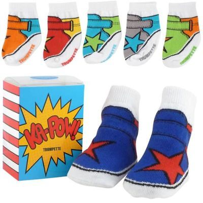 Trumpette Ka Pow 6 Pack Socks Gift Box Age 0-12 Months