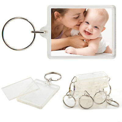 A5 Passport Size Blank Photo Key Rings - Insert 35 mm x 45 mm - 1 2 5 10 or 20.