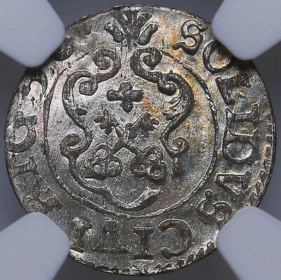 Riga Livonia Sweden Solidus 1656 NGC MS63 Mint Luster High grade TOP