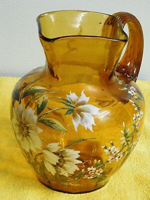 VINTAGE ANTIQUE HAND MADE & PAINTED  GLASS Amber Floral Decorated Pitcher