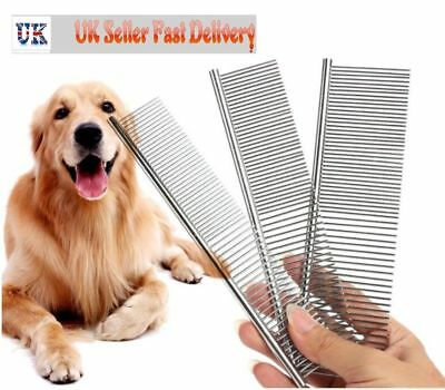 New Pet Puppy Dog Cat Metal Double Row Teeth Brush Grooming Hair Comb Fur Rake