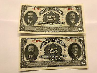 2-1915 Mexico/Sonora 25 Cent Notes Unc. Consecutive Ser. Numbers #5785