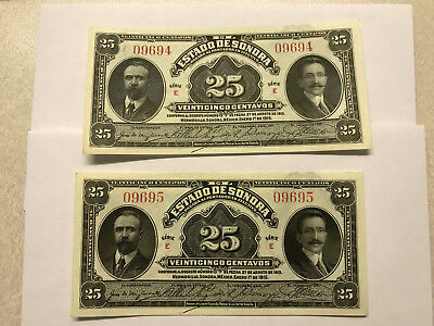 2-1915 Mexico/Sonora 25 Cent Notes Unc. Low Consecutive Ser. Numbers #5779