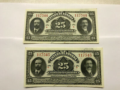 2-1915 Mexico/Sonora 25 Cent Notes Unc. Consecutive Ser. Numbers #5783
