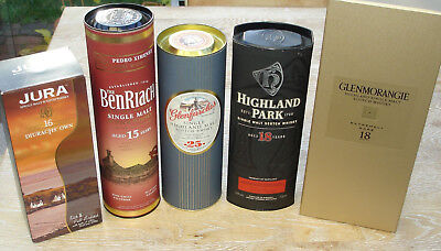 5 leere Whisky Flaschen - BenRiach, Highland Park 18 u.a.- empty bottles Leergut