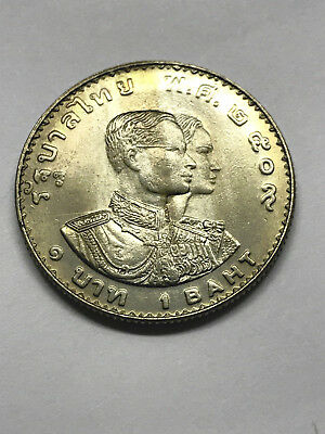 1966 Thailand 1 Baht 5th Asian Games Unc Toning #7825