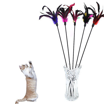 Fun Kitten Toy Cat Feather Bell Wand Teaser Rod Bead Play Pet Ball Toys PV