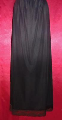 JCPenney Lace Trimmed Extra Long Half Slip with Slit~Black~L
