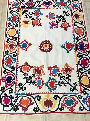 Old Uzbek Antique Vintage Wallhanging Hand Embroidered Double Sides Suzani