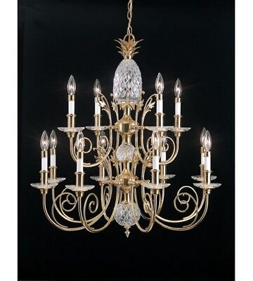 Quoitzel Crystal Pineapple Polished Brass 3 Tier Chandelier, Discontinued HTF
